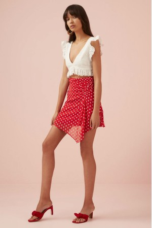 Blossom Skirt Red With White
