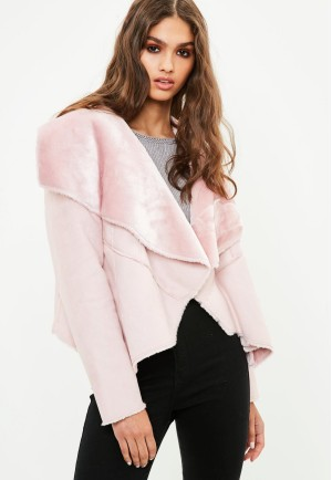 Pink Waterfall Shearling Jacket