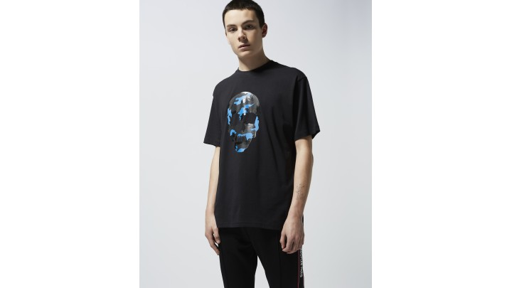 The Kooples - Printed black T-shirt with colourful skull - MEN