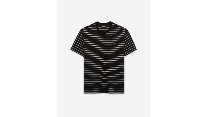 The Kooples - Striped black T-shirt with badge - MEN