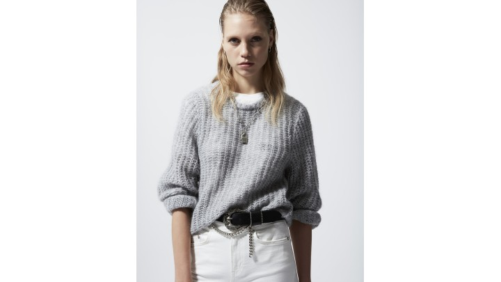The Kooples - Oversized formal grey sweater in mohair - WOMEN