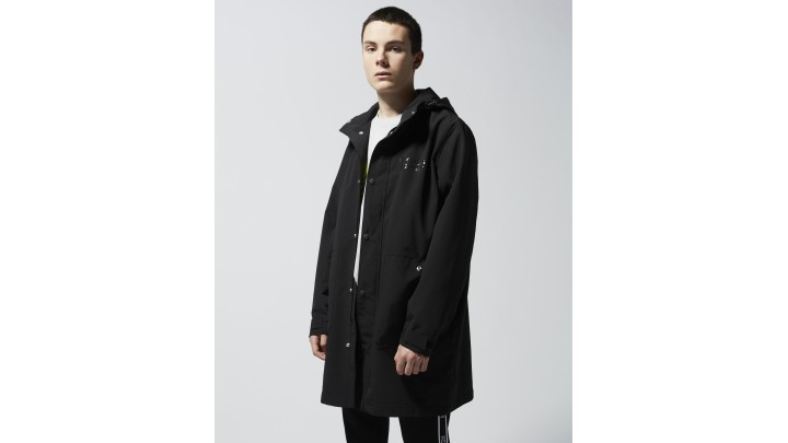 The Kooples - Long black parka with hood and logo zip - MEN