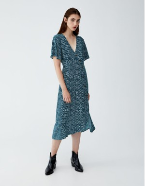 Floral Print Midi Dress With Buttons